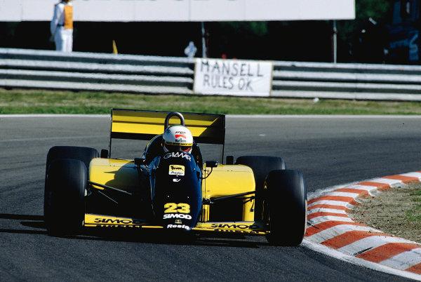 1986 Belgian Grand Prix.Spa-Francorchamps, Belgium.23-25 May 1986.Andrea de Cesaris (Minardi M185B Motori Moderni).Ref-86 BEL 33.World Copyright - LAT Photographic