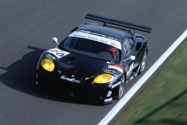 2004 Le Mans Endurance SeriesSilverstone 1000 KilometersSilverstone, England. 12th - 14th August 2004GT-class winners Daoudi/Rusinov (Ferrari 360 Modena GT). Action.World Copyright: Glenn Dunbar/LAT Photographicref: 35mm Transparency A02