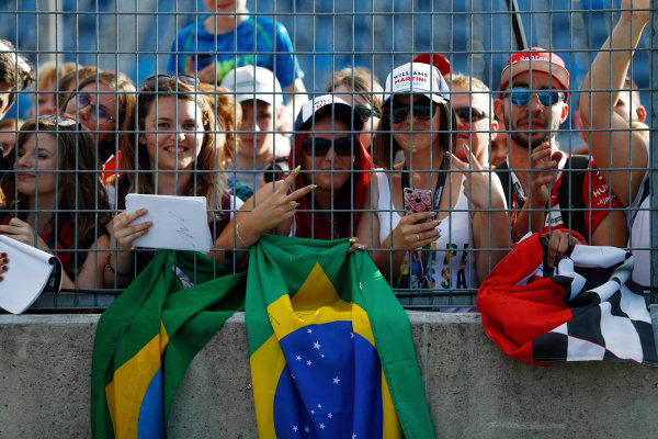 Hungaroring, Budapest, Hungary.  Thursday 27 July 2017. Fans display recently acquired autographs. World Copyright: Glenn Dunbar/LAT Images  ref: Digital Image _31I7808