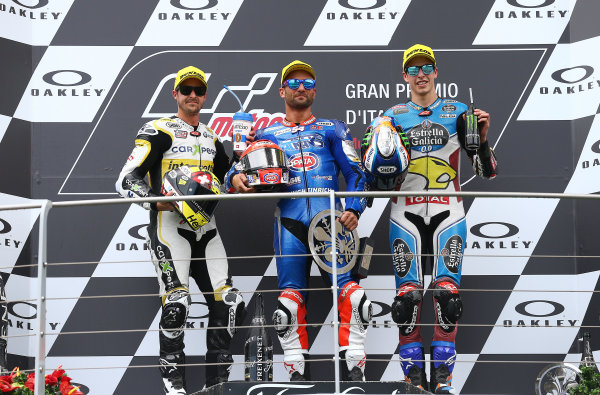 2017 Moto2 Championship - Round 6 Mugello, Italy Sunday 4 June 2017 Podium: second place Thomas Luthi, CarXpert Interwetten, Race winner Mattia Pasini, Italtrans Racing Team, third place Alex Marquez, Marc VDS World Copyright: Gold & Goose Photography/LAT Images ref: Digital Image 674777