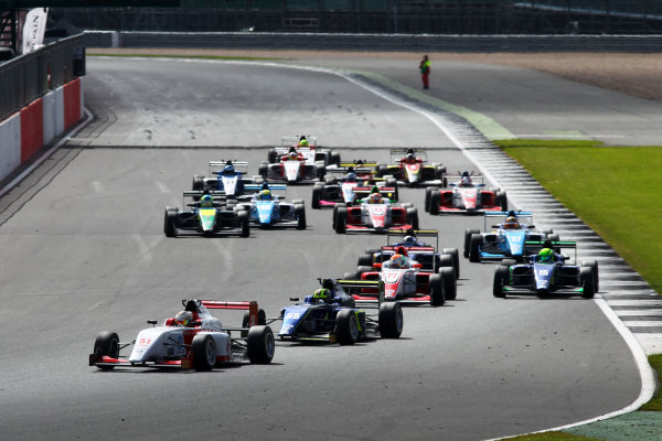 2017 BRDC British Formula 3 Championship,  Silverstone, 11th-12th June 2017, Race Start - Toby Sowery (GBR) Lanan Racing BRDC F3 leads. World copyright. JEP/LAT Images
