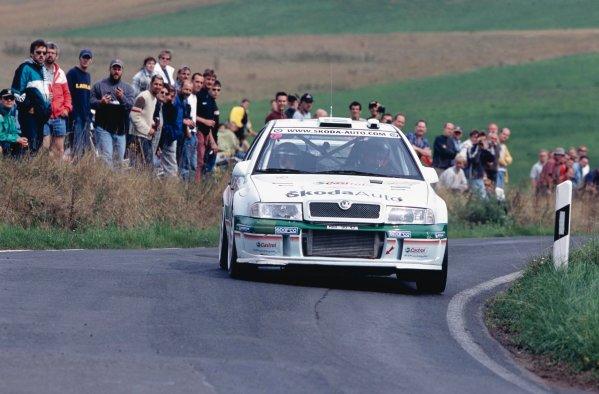 2002 World Rally Championship.ADAC Rallye Deutschland, Trier, Germany. August 22nd - 25th 2002.Kenneth Eriksson/Tina Thorner (Skoda Octavia WRC EVO 3), action.Photo: McKlein/LAT Photographicref: 35mm Image A23