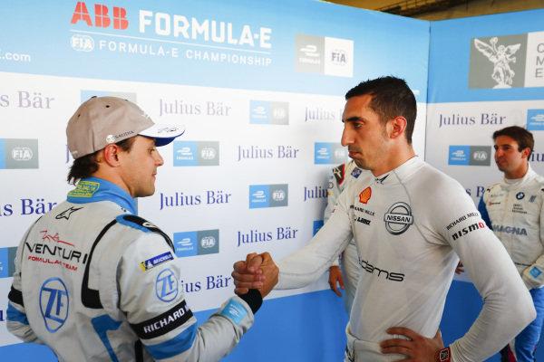 Felipe Massa (BRA), Venturi Formula E and Sébastien Buemi (CHE), Nissan e.Dams shake hands