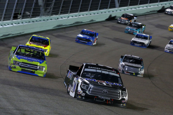 #51: Christian Eckes, Kyle Busch Motorsports, Toyota Tundra Mobil 1 and #99: Ben Rhodes, ThorSport Racing, Ford F-150 Dish Fish/Go Fish