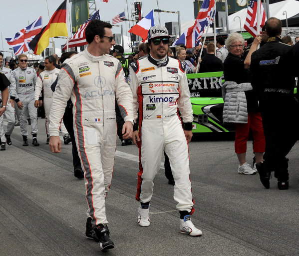 Simon Pagenaud (FRA) Acura Team Penske and Fernando Alonso (ESP) United Autosports at Daytona 24 Hours, Daytona International Speedway, Daytona, USA, 27-28 January 2018.