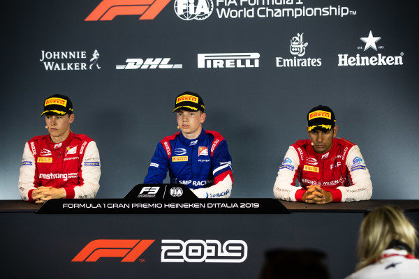 AUTODROMO NAZIONALE MONZA, ITALY - SEPTEMBER 07: AUTODROMO NAZIONALE MONZA, ITALY - SEPTEMBER 07: Robert Shwartzman (RUS, PREMA Racing) Marcus Armstrong (NZL, PREMA Racing) and Jehan Daruvala (IND, PREMA Racing) during the Monza at Autodromo Nazionale Monza on September 07, 2019 in Autodromo Nazionale Monza, Italy. (Photo by Joe Portlock / LAT Images / FIA F3 Championship) during the Monza at Autodromo Nazionale Monza on September 07, 2019 in Autodromo Nazionale Monza, Italy. (Photo by Joe Portlock / LAT Images / FIA F3 Championship)