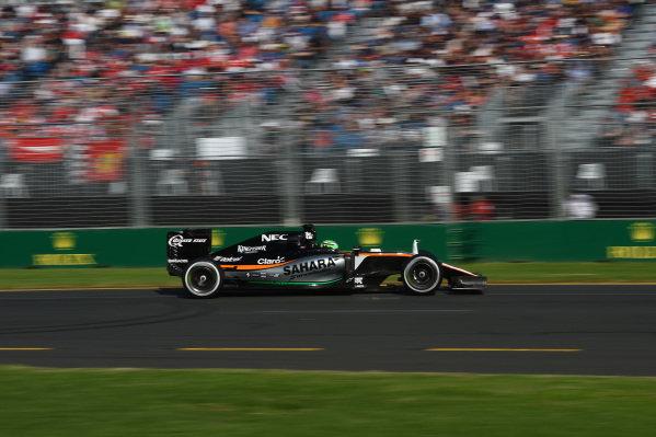 Sergio Perez (MEX) Force India VJM09 at Formula One World Championship, Rd1, Australian Grand Prix, Race, Albert Park, Melbourne, Australia, Sunday 20 March 2016.