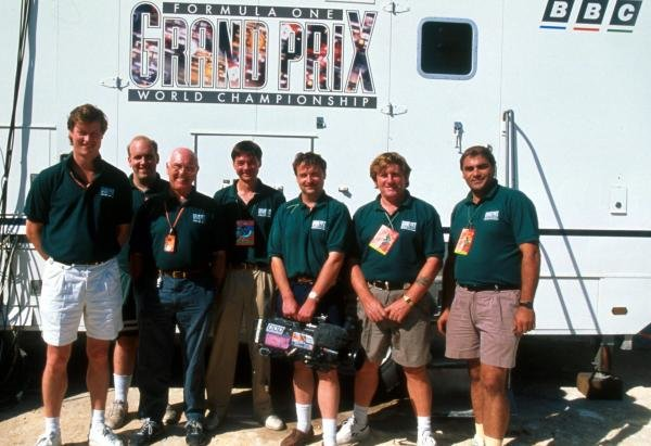 The BBC Grand Prix team, including commentator Murray Walker (GBR) (Third from left). 