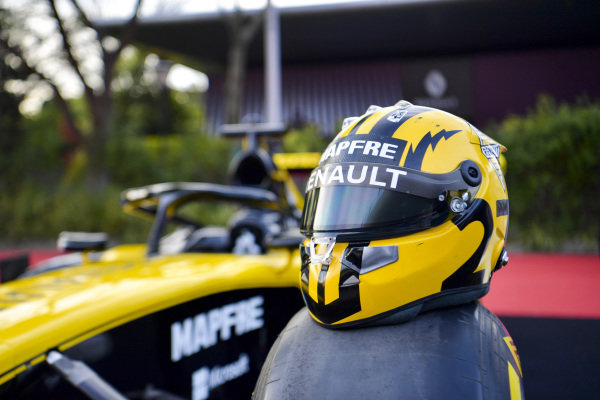 The helmet of Nico Hulkenberg, Renault F1 Team, poses on a car