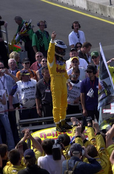 2002 DTM Championship Norisring, Germany. 29th - 30th June 2002. Laurent Aiello (Abt Audi TT-R) stands on the roof of his car to celebrate his race win.World Copyright: Andre Irlmeier/LAT Photographic