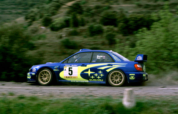 2001 World Rally Championship. Catalunya Rally, Spain. 22nd - 25th March 2001. Rd 4. Richard Burns / Robert Reid, Subaru Impreza WRC, action. World Copyright: McKlein / LAT Photographic. Ref: A14
