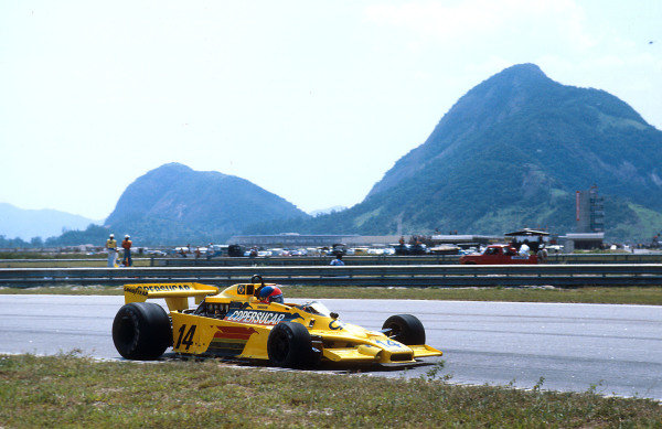 1978 Brazilian Grand Prix.Jacarepagua, Rio de Janeiro, Brazil.27-29 January 1978.Emerson Fittipaldi (Fittipaldi F5A Ford) 2nd position. This was the best result with his own team.Ref-78 BRA 06.World Copyright - LAT Photographic