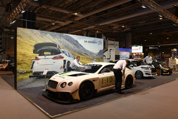 Autosport International Exhibition. National Exhibition Centre, Birmingham, UK. Friday 13 January 2017. A Bentley is cleaned on the M-Sport stand. World Copyright: Sam Bagnall/LAT Photographic. Ref: DSC_2678