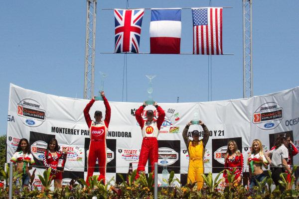 The podium: Justin Wilson (GBR) RuSPORT 2nd, Sebastien Bourdais (FRA) 1st and A.J Allmendinger (USA) 3rd. Champ Car World Series, Rd3, Tecate Grand Prix, Fundidora Park, Monterrey, Mexico, 19-21 May 2006. DIGITAL IMAGE