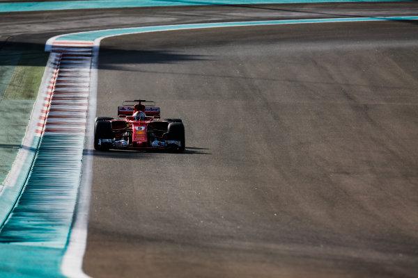 Yas Marina Circuit, Abu Dhabi, United Arab Emirates. Wednesday 29 November 2017. Sebastian Vettel, Ferrari SF70H. World Copyright: Joe Portlock/LAT Images  ref: Digital Image _L5R8370