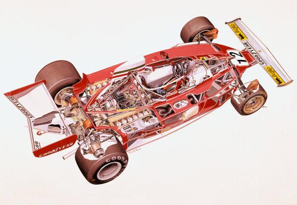 Cutaway drawing. Ferrari 312T of Niki Lauda. World Copyright: Matthews/LAT Photographic Ref: Cutaway