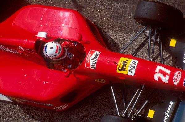 Imola, Italy.29/4-1/5 1994.Nicola Larini (Ferrari 412T1) 2nd position.Ref-94 SM 01.World Copyright - LAT Photographic