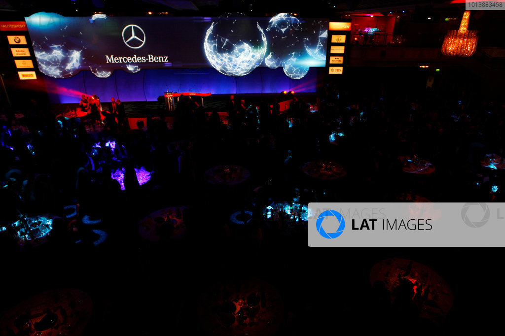Sunday  Sponsors of the Autosport Awards are displayed on the big screen. World Copyright:Alastair Staley/  ref: Digital Image _O9T8895