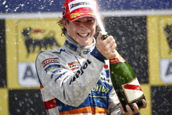 2007 GP2 Series. Round 7.Hungaroring, Budapest, Hungary 5th August 2007. Sunday Race.Javier Villa (ESP, Racing Engineering) celebrates victory. World Copyright: Andrew Ferraro/GP2 Series Media Service.ref: Digital Image_H0Y1167