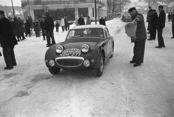 1959 Monte Carlo Rally. Monte Carlo Monaco. 16th - 25th January 1959. Tommy Wisdom / Douglas Johns (Austin-Healey Sprite), 5th in Class, 63rd overall. World Copyright: LAT Photographic.  Ref:  8148D - 20.