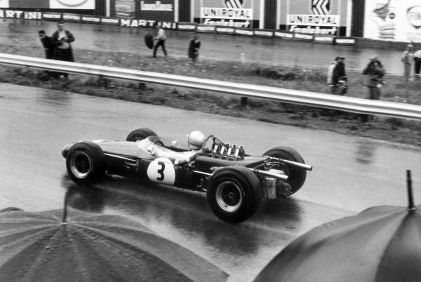 1966 Belgian Grand Prix.Spa-Francorchamps, Belgium. 12 June 1966.Jack Brabham, Brabham BT19-Repco, 4th position, action.World Copyright: LAT PhotographicRef: Motor b&w print