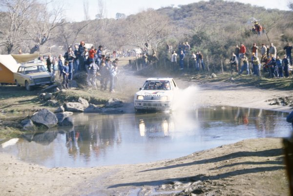 1985 World Rally Championship.Argentinian Rally, Argentina. 30 July-3 August 1985.Timo Salonen/Seppo Harjanne (Peugeot 205 T16 E2), 1st position.World Copyright: LAT PhotographicRef: 35mm transparency 85RALLY07