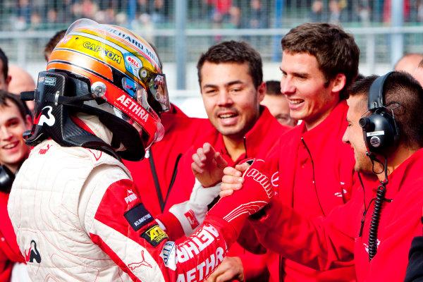 Dijon - Prenois, France. Sunday 11th October. Jules Bianchi (ART Grand Prix Dallara F308 / Mercedes) celebrates winning the 2009 Formula 3 Euro Series. World Copyright: Alastair Staley/LAT Photographic.Ref: _O9T9668 jpg