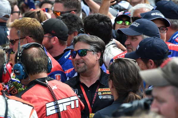 Verizon IndyCar Series Indianapolis 500 Race Indianapolis Motor Speedway, Indianapolis, IN USA Sunday 28 May 2017 Team owner Michael Andretti (USA) celebrates in Victory Lane World Copyright: Jose Rubio/Sutton/LAT Images ref: Digital Image dcd1728my1061