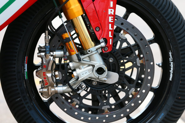 2017 Superbike World Championship - Round 6 Donington Park, UK. Thursday 25 May 2017 Brakes and suspension on the bike of Leon Camier, MV Agusta World Copyright: Gold and Goose Photography/LAT Images ref: Digital Image 672275
