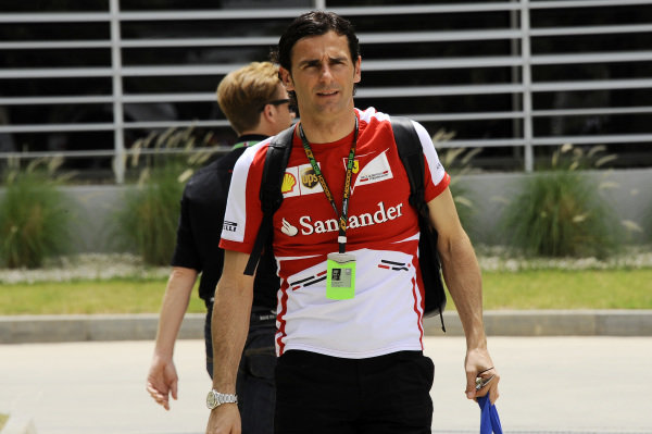 Pedro De La Rosa (ESP) Ferrari Development Driver. Formula One World Championship, Rd4, Bahrain Grand Prix Preparations, Bahrain International Circuit, Sakhir, Bahrain, Thursday 18 April 2013.