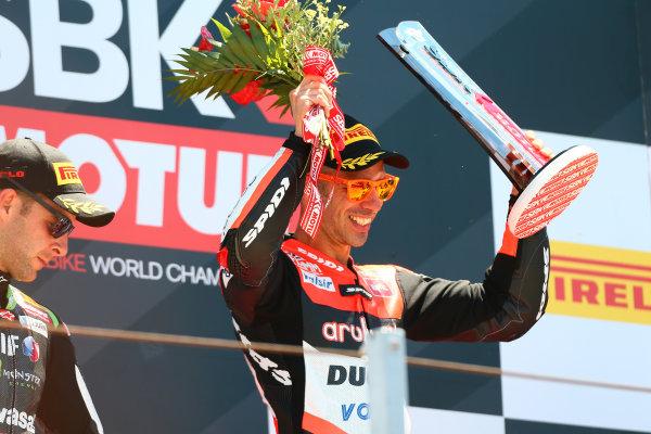 2017 Superbike World Championship - Round 7 Misano, Italy. Sunday 18 June 2017 Podium: Race winner Marco Melandri, Ducati Team World Copyright: Gold and Goose Photography/LAT Images ref: Digital Image WSBK-Post-500-9267 1.20.17 AM
