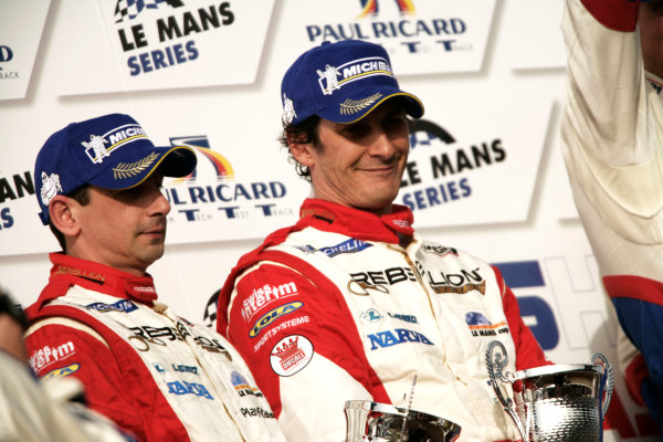 Circuit Paul Ricard, France. 1st - 3rd April 2011.Six Hours Of Castellet.Andrea Belicchi / Jean Christophe Boullion, Rebellion Racing, Lola B10/60 Coupe - Toyota on the podium. Portrait.      World Copyright: Drew Gibson/LAT Photographic.ref: Digital Image _Y2Z2176