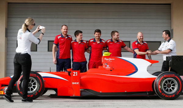 2015 GP2 Test 1 Yas Marina Circuit, Abu Dhabi, United Arab Emirates Wednesday 10 March 2015 Norman Nato (FRA, Arden Int) and his Arden mechanics pose for a photograph near the car Photo: Jed Leicester/GP2 Series Media Service ref: Digital Image _JL14628