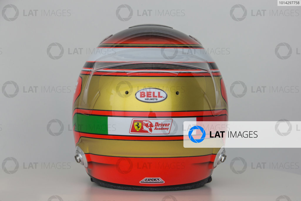 Hinwil, Switzerland. Thursday 29 January 2015. Helmet of Raffaele Marciello, Test and Reserve Driver, Sauber.  World Copyright: Sauber F1 Team (Copyright Free FOR EDITORIAL USE ONLY) ref: Digital Image 2015_SAUBER_HELMET_19