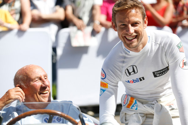 2015 Goodwood Festival of Speed Goodwood Estate, West Sussex, England. 25th - 28th June 2015. Jenson Button and Stirling Moss. World Copyright: Alastair Staley/LAT Photographic ref: Digital Image_R6T9223