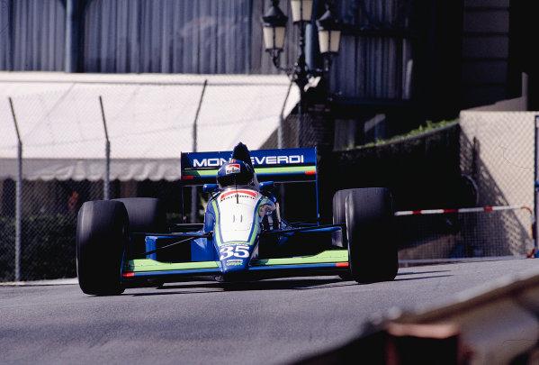 1990 Monaco Grand Prix.Monte Carlo, Monaco.24-27 May 1990.Gregor Foitek (Onyx ORE-2 Ford) 7th position.Ref-90 MON 41.World Copyright - LAT Photographic