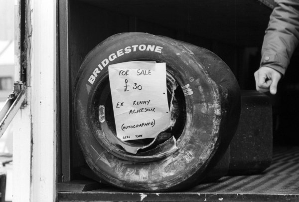 For sale: A damaged Bridgestone wheel signed by Kenny Acheson (GBR) Ralt Racing, who retired from the race on lap 37 with a blown engine.European Championship For Formula Two Drivers, XXIV International Trophy, Rd 1, Silverstone, England, 21 March 1982.