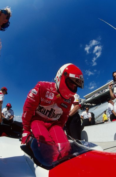 Al Unser Jr (USA) climbs aboard the Penske PC23 Mercedes before winning the 1994 Indianapolis 500.