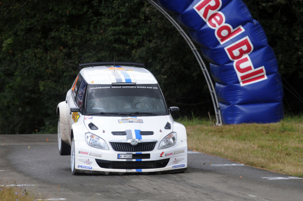 Sebastien Ogier (FRA) and Julien Ingrassia (FRA), Skoda Fabia S2000 on the 'Gina' jump on stage 9.FIA World Rally Championship, Rd9, ADAC Rallye Deutschland, Day Two, Trier, Germany, 25 August 2012.