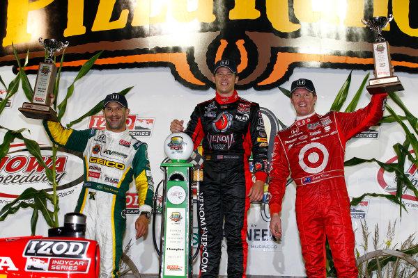 24-25 June, 2011, Newton, Iowa USAMarco Andretti, Tony Kanaan and Scott Dixon celebrate(c)2011, Dan StreckLAT Photo USA