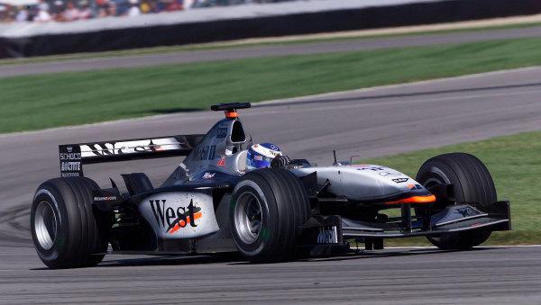 2001 American Grand Prix - RaceIndianapolis, United States. 30th September 2001.Race winner Mika Hakkinen, West McLaren Mercedes MP4/16, action.World Copyright: Steve Etherington/LAT Photographicref: 18mb Digital Image