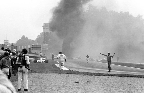 1978 Italian Grand Prix.Monza, Italy.8-10 September 1978.The scene after the first lap multiple accident which claimed the life of Ronnie Peterson (Lotus 78-Ford).Ref-LAT 11803 #9.World Copyright - LAT Photographic