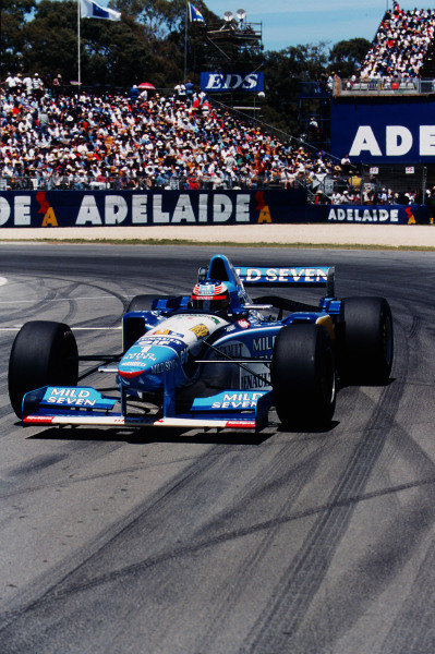 1995 Australian Grand Prix. Adelaide, Australia. 10-12 November 1995. Michael Schumacher (Benetton B195 Renault) exited the race after a collision with Alesi. Ref-95 AUS 22. World Copyright - LAT Photographic