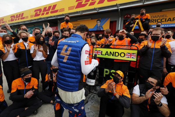 Lando Norris, McLaren, 3rd position, Daniel Ricciardo, McLaren, Andreas Seidl, Team Principal, McLaren, and the McLaren team celebrate a podium finish