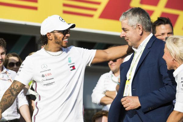 Lewis Hamilton, Mercedes AMG F1, with Actor Rowan Atkinson