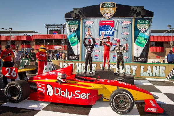 Podium: race winner Carlos Munoz, Andretti Autosport, second place David Ostella, Team Moore Racing, third place Esteban Guerrieri, Sam Schmidt Motorsports
