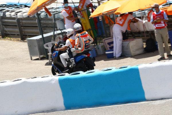 Alex Marquez, Repsol Honda Team after crash.