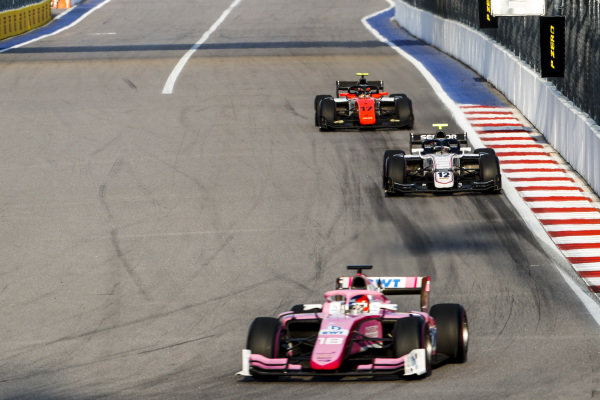 SOCHI AUTODROM, RUSSIAN FEDERATION - SEPTEMBER 28: Tatiana Calderon (COL, BWT ARDEN), Matevos Isaakyan, (RUS, Sauber Junior Team by Charouz) and Mahaveer Raghunathan (IND, MP MOTORSPORT) during the Sochi at Sochi Autodrom on September 28, 2019 in Sochi Autodrom, Russian Federation. (Photo by Carl Bingham / LAT Images / FIA F2 Championship)