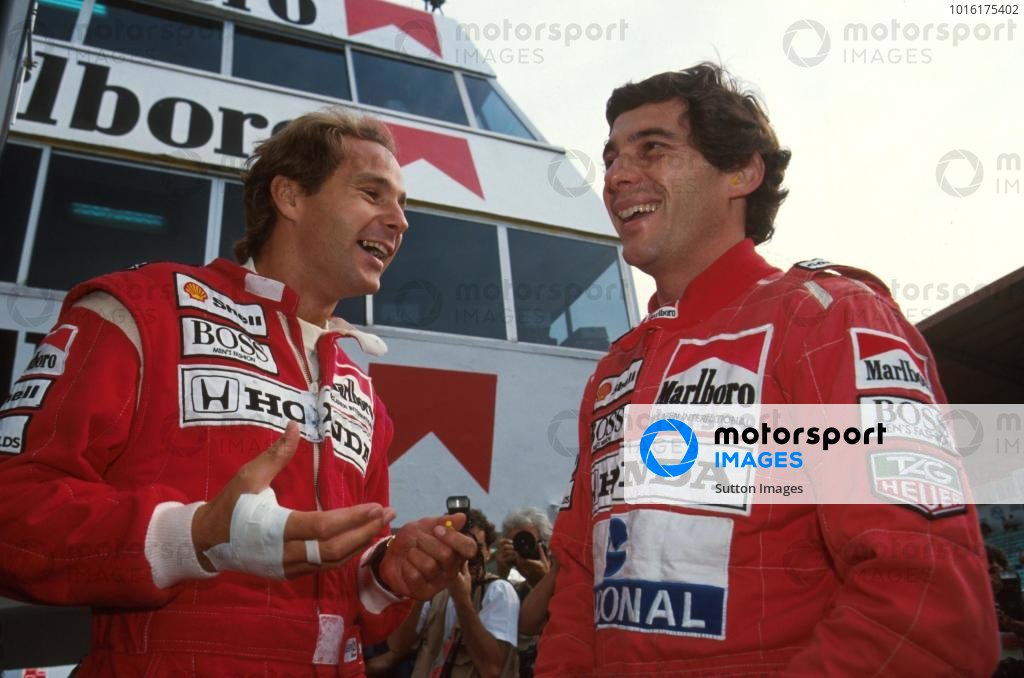 Gerhard Berger and team mate Ayrton Senna, right Portugese GP, Estoril, Potrugal, 22 September 1991