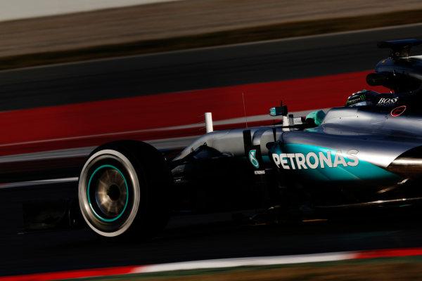 Circuit de Catalunya, Barcelona, Spain Thursday 25 February 2016. Nico Rosberg, Mercedes F1 W07 Hybrid. World Copyright: Sam Bloxham/LAT Photographic ref: Digital Image _SBL8559
